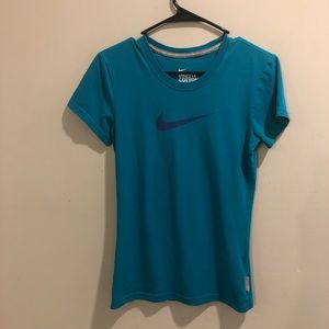 Nine Dri-Fit cotton tee teal blue